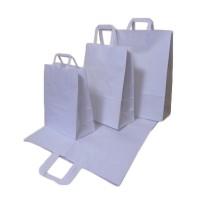 Papierové tašky bielé s plochým uchom