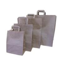 Papierové tašky hnedé s plochým uchom
